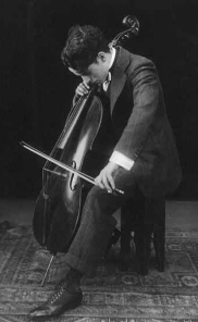 Charles Chaplin, left-handed cellist, in 1915
