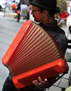 Matt Dallow playing accordion