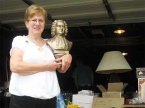 Arlene Berish guards valuable bust