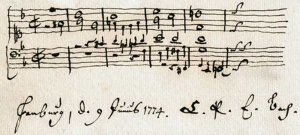 Harmonization of the family name by C. P. E. Bach